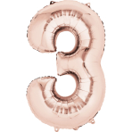 "SuperShape ""3 - Rose  Gold"" Foil Balloon, P50, packed, 53 x 88cm"