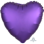 "Standard ""Satin Luxe Purple Royale"" Foil Balloon Heart, S15, packed, 43cm"