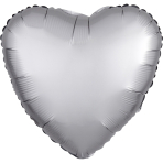 "Standard ""Satin Luxe Platinum"" Foil Balloon Heart, S15, packed, 43cm"