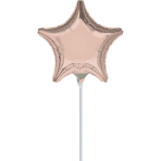 "9'' ""Rose Gold"" Foil Balloon  Star, D05, airfilled, 23cm"