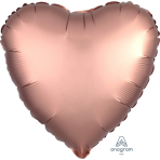 "Standard ""Satin Luxe Rose Copper"" Foil Balloon Heart, S15, packed, 43cm"