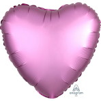 "Standard ""Satin Luxe Flamingo"" Foil Balloon Heart, S15, packed, 43cm"