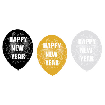 6 latex balloons happy new year 27 5 cm 11 39 39 amscan europe - Happy new year sound europe ...