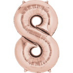 "SuperShape ""8 - Rose  Gold"" Foil Balloon, P50, packed, 53 x 83cm"