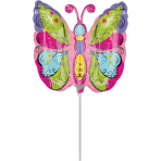Mini Shape Whimsical Garden Butterfly Foil Balloon A30 Air Filled