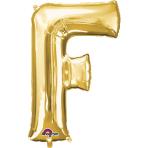 SuperShape Letter F Gold Foil Balloon L34 Packaged 53cm x 81cm