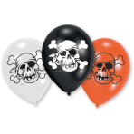 6 Latex Balloons Jolly Roger 22.8 cm/9''