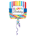 Standard Stripes & Chevron Happy Birthday Foil Balloon S40 Packaged 43 cm