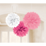 3 Fluffy Decorations Light & Dark Pink, White