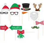 Photo Booth Kit Christmas Paper / Wood 13 Pieces 35.5 x 21.5 cm
