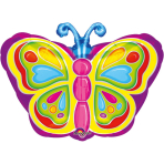 Junior Shape Bright Butterfly FoilBalloon S50 Packaged