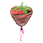 "Junior Shape ""Chocolate Dipped Strawberry"" Foil Balloon, S50, packed, 45x48cm"