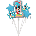 "Bouquet ""Mickey 1st Birthday"" 5 Foil Balloons, P75, packed"