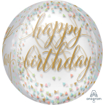 "Orbz ""Pastel Confetti"" Foil Balloon  Clear, G20, packed, 38 x 40cm"