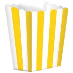 5 Popcorn Boxes Stripes Sunshine Yellow Paper 6.3 x 13.4 x 3.8 cm