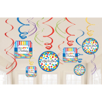 12 Swirl Decorations Bright Birthday Foil / Paper 61 cm