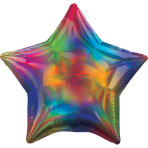 Standard Holographic Iridescent Rainbow Star Foil Balloon S55 Packaged