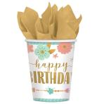 8 Cups Boho Birthday Girl Paper 250 ml