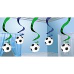6 Swirl Decorations Championship Soccer Foil / Paper 61 cm