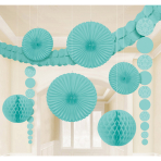 Decoration Kit Damask Robin's Egg Blue Paper 9 Pieces 360 cm / 90 cm / 20.3 - 30.4 cm