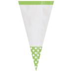10 Party Bags Cone Shaped Polka Dot Kiwi Green Plastic 27.2 x 8.8 cm