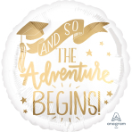 Standard The Adventure Begins White & Gold Foil Balloon S40 Packaged