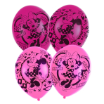 6 Latex Balloons Minnie Mouse 4 Sided 27.5cm/11""