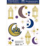 Window Decoration Kit Eid Glitter Vinyl 15 Pieces 43.1 x 30.5 cm