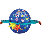 UltraShape Happy Birthday Colorful Galaxy Foil Balloon P60 packaged