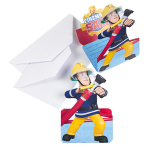 8 Invitations & Envelopes Fireman Sam