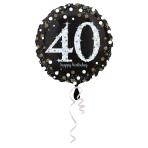 Standard Sparkling Birthday 40 Foil Balloon Round S55 Packaged 43 cm