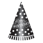 12 Party Cone Hats Birthday Black & White Paper Height 17.7 cm