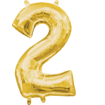 MiniShape Number 2 Gold Foil Balloon L16 Packaged 20cm x 33c