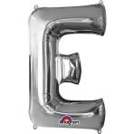 SuperShape Letter E Silver Foil Balloon L34 Packaged 53cm x 81cm