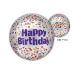 "Clear Orbz ""Happy Birthday Funfetti"" Foil Balloon Clear, G20, packed, 38 x 40cm"