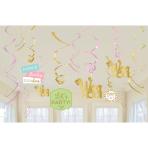 12 Swirl Decorations Pastel Birthday Foil / Paper 61 cm