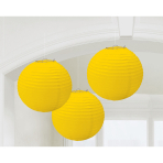 3 Lanterns Sunshine Yellow Paper 20.4 cm