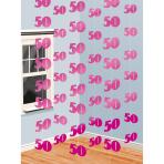 6 String Decorations Pink Shimmer 50 210 cm