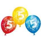 "6 Latex Balloons Age 5 22.8 cm / 9"""