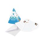 8 Invitations & Envelopes Tepee & Tomahawk Paper 8.1 x 10.8 cm