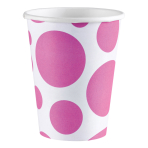 8 Cups Bright Pink Dots Paper 266 ml