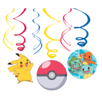 6 Swirl Decorations Pokemon Foil / Paper 61 cm