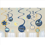 12 Swirl Decorations Twinkle Little Star Foil / Paper 61 cm