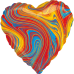 Standard Marblez Colorful Heart Foil Balloon S18 Packaged