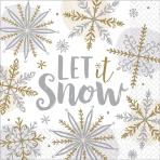 16 Napkins Shining Snow 33 x  33 cm