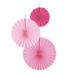 3 Fan Decorations Hot Pink Paper 18 cm / 30 cm / 38 cm