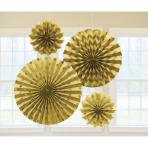 4 Fan Decorations Glitter Gold Paper 20.3 cm / 30.4 cm / 40.6 cm