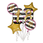 "Bouquet ""Pink & Gold Milestone 18"" Foil Balloon P75 Packaged"