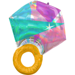 Super Shape Iridescent Wedding Ring Foil Balloon P40 Packaged 55cm x 68cm