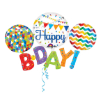 Multi Balloon Happy BDAY Foil Balloon P80 Packaged 142 x 91 cm